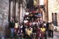 Gerusalemme - Davanti alla Basilica del Santo Sepolcro dopo la messa mattutina al Calvario